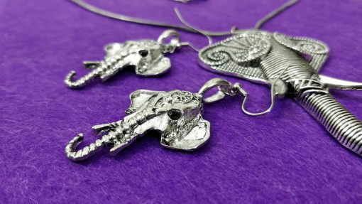 Crafinart Silver Oxidized Elephant Antique Jewelry Set For Girls & Women