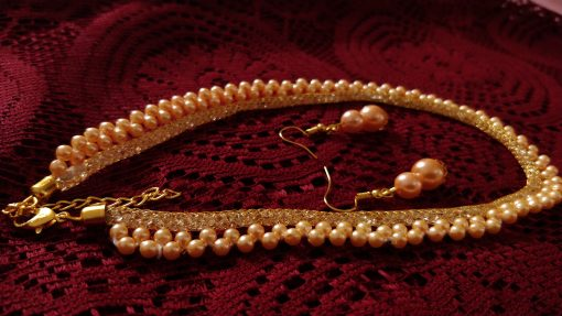 Crafinart Traditional Choker Pearl Necklace Jewellery Set with Earrings for women