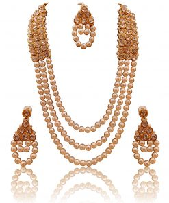 Crafinart Traditional Rani Haar AD and Pearl Necklace Sets with Mang Tika & Earrings Jewellery for Woman