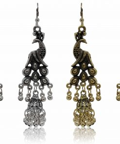 Crafinart Oxidize Gold silver Antique Peacock Earring sets for Women