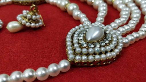 Crafinart Rani Haar A D and Pearl Necklace Set with Mang-Tika and Earrings Jewellery for Women