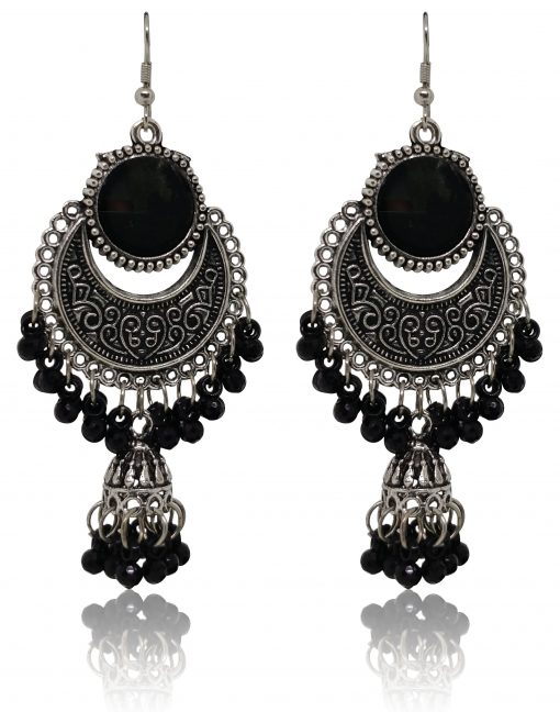 Crafinart multi color Oxidized Silver Combo of 5 Pairs beads Jhumki Earrings for Women & Girls