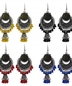 Crafinart multi color Oxidized Silver Combo of 4 Pairs beads Jhumki Earrings for Women & Girls …