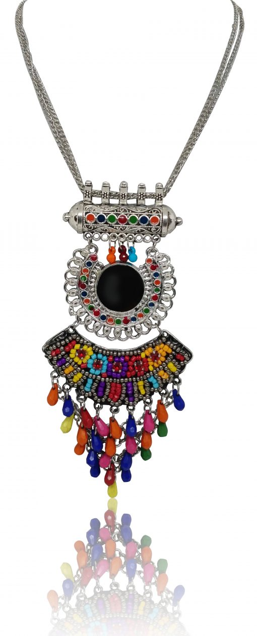 Crafinart Oxidised Silver Meena Work Multi Color Beads Necklace Sets for Women