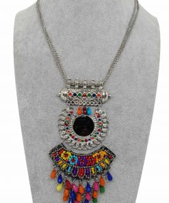 Crafinart Oxidised Silver Meenakari Multi Color Beads Necklace for Women