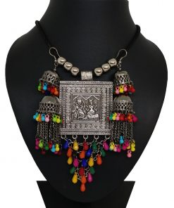 Crafinart Oxidised Silver Meena Work Multi Color Beads Necklace for Women