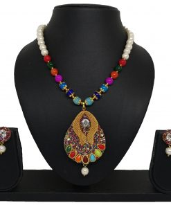 Crafinart Oxidized Silver Multi color Beads Minakari AD Afghani Traditional Necklace for Women
