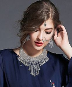 Crafinart Traditional Imitation AD Choker Necklace Jewellery Set with Earrings Mangtika Nath Nose Ring for Women
