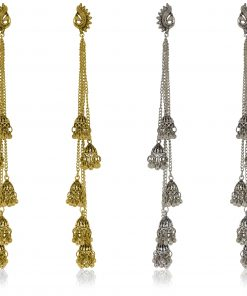 Crafinart Oxidize Gold & silver Long Chain Jhumki Earring Combo sets for Women