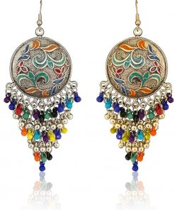 Crafinart Oxidize Gold & silver Minakari Multi color Earring Combo sets for Women small
