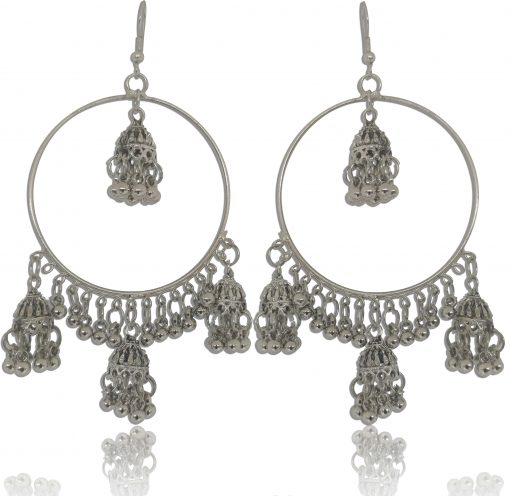 Crafinart Oxidized Silver Antique Round Ring Earring for Women