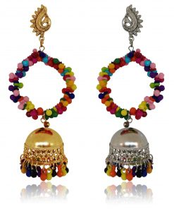 Crafinart Silver & Golden oxidize Multi color Round Beads Combo earrings for Women