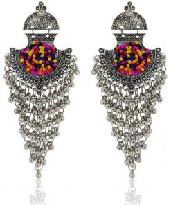 Crafinart silver oxidize Multi color Beads earrings for woman
