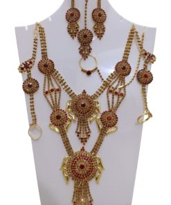 Crafinart Traditional Imitation AD Bridal Necklace Jewellery Set with Earrings Mangtika Nath Nose Ring for Women