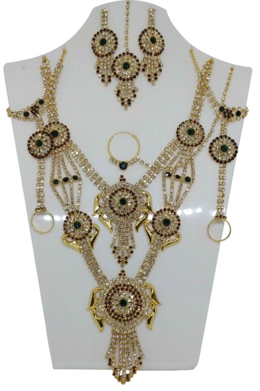 Crafinart Traditional Imitation AD Bridal Necklace Jewellery Set with Earrings Mangtika Nath Nose Ring for Women(Green)