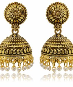 Crafinart Golden Oxidized Brass Antique Jhumki Earring for Women