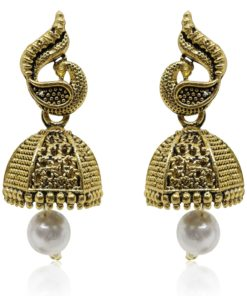 Crafinart Golden Oxidized Brass Antique Small Jhumki Earring for Women