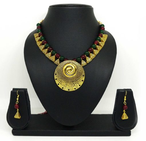 Crafinart Golden Oxidized Multicolor Pearl Big Round Locket Brass necklace Sets for Woman