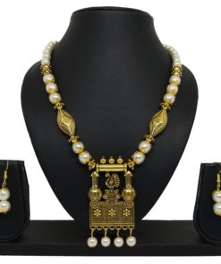 Crafinart Golden Oxidized Pearl Moti mala necklace sets for woman