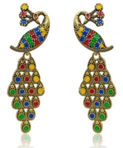 Crafinart Multicolor Golden Oxidized Brass Meenakari Peacock Earring for Women