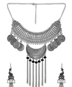 Crafinart Oxidized Silver Beads Minakari Afghani Traditional Necklace set for Women