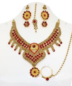 Crafinart Traditional Imitation AD Bridal Choker Necklace Jewellery Set with Earrings Mangtika Nath Nose Ring for Women