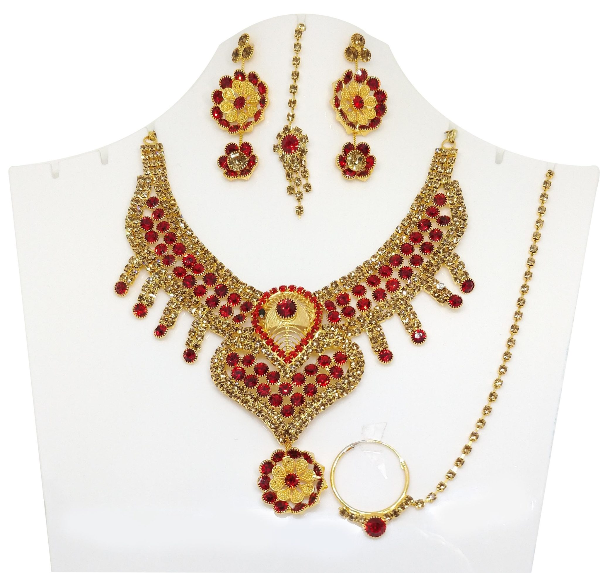 Crafinart Ad Choker Necklace Set With Earrings Mangtika Nath Nose Ring