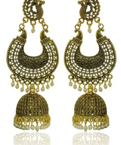 Crafinart Golden Oxidized Brass Big Chandbali Jhumki Earring for Women