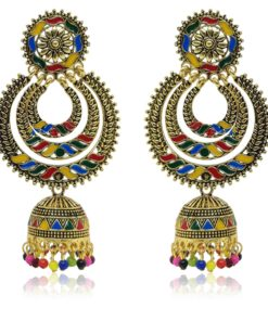 Crafinart Multicolor Golden Oxidized Brass Big Jhumki Earring for Women