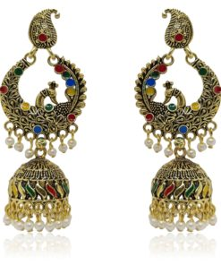 Crafinart Multicolor Golden Oxidized Brass Meenakari Peacock Jhumki Earring for Women
