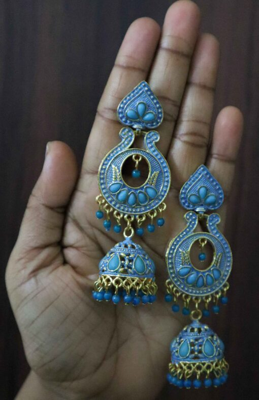 Crafinart Oxidised Brass Blue Meenakari Jhumki Earring for Women