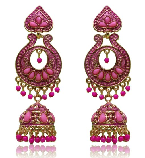 Crafinart Oxidised Brass Pink Meenakari Jhumki Earring for Women